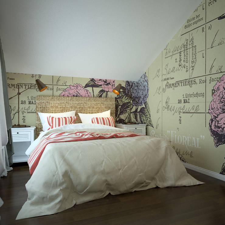 Две спальни в английском колониальном стиле от Юлии Романовой с обоями Rebel Walls: Спальни в . Автор – Rebel Walls Russia