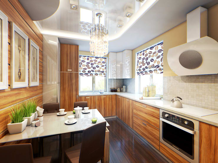 дом <q>Жемчуг и палисандр</q>: Кухни в . Автор – Арт-мастерская 'РЕПЛИКА'
