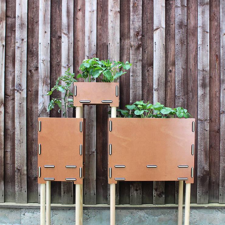 Pflanzboxen – die kleinen Hochbeete zum Stapeln: skandinavischer Balkon, Veranda & Terrasse von Werkhaus Design + Produktion GmbH
