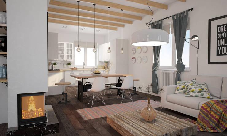 Скандинавский дом: Гостиная в . Автор – room4life, Скандинавский