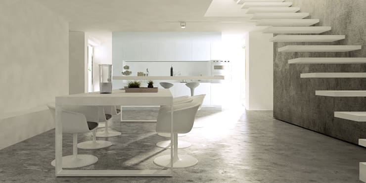 Casa P+A: Cozinhas minimalistas por Artspazios, arquitectos e designers