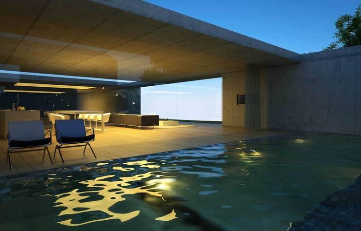 casa carriça: Piscinas  por Artspazios, arquitectos e designers