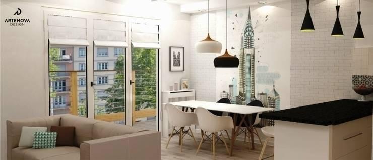 nowoczesne mieszkanie : styl , w kategorii Jadalnia zaprojektowany przez Artenova Design