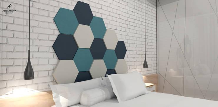 Kawalerka : styl , w kategorii Sypialnia zaprojektowany przez Artenova Design,