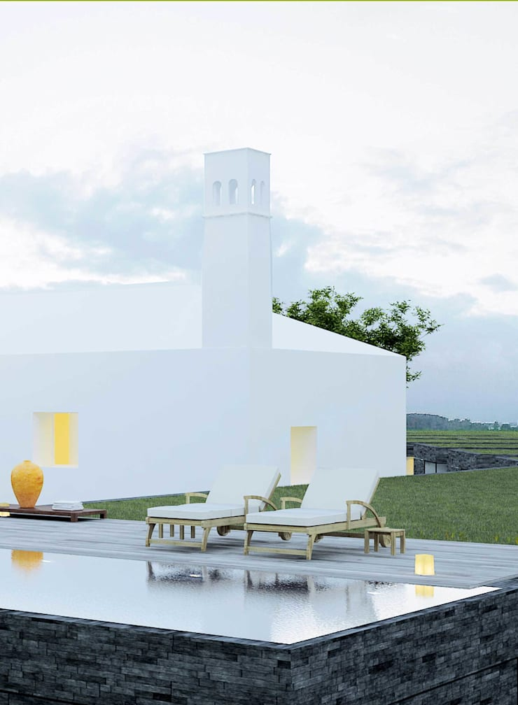 quinta da branca: Piscinas  por Artspazios, arquitectos e designers