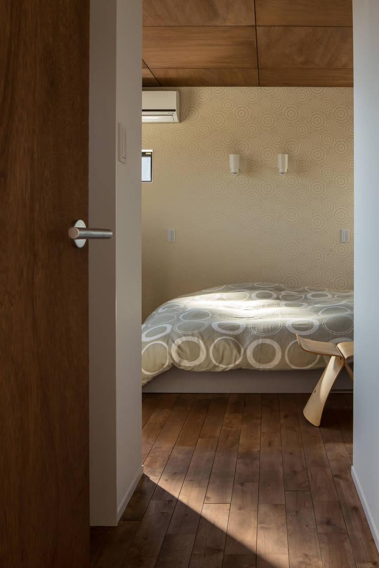 寝室: 一級建築士事務所シンクスタジオが手掛けた寝室です。