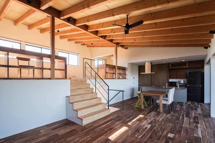 オープンキッチン: 一級建築士事務所シンクスタジオが手掛けたリビングです。