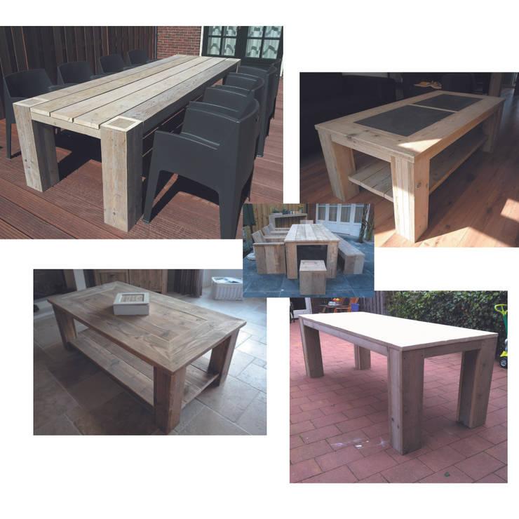 Steigerhouten tafels: moderne Tuin door Trendy met Hout