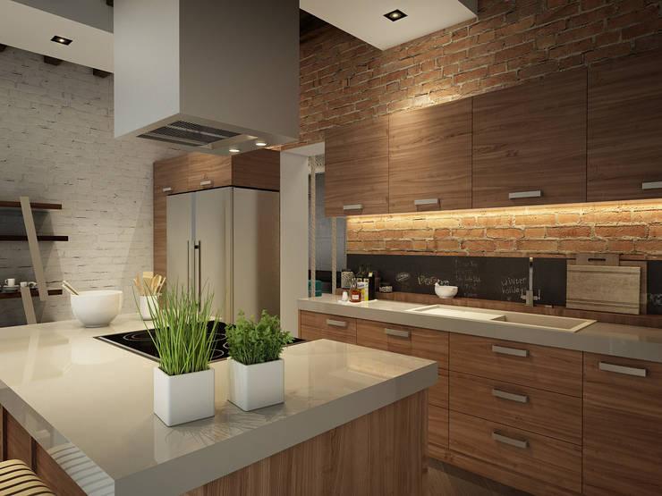 КВАРТИРА ДЛЯ МОЛОДОЙ СЕМЬИ: Кухня в . Автор – Васечкин  Design