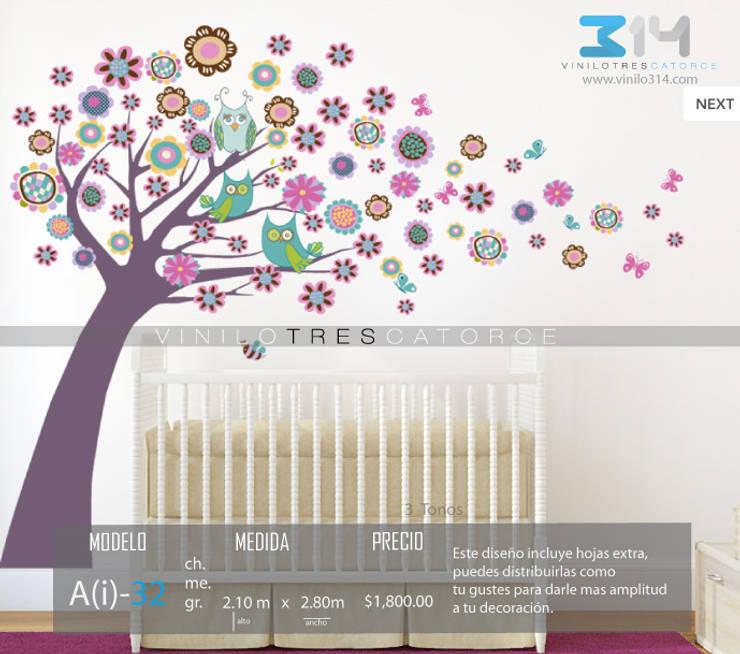 Vinilo Decorativo Arbol Búhos : Recámaras infantiles de estilo  por Vinilo314