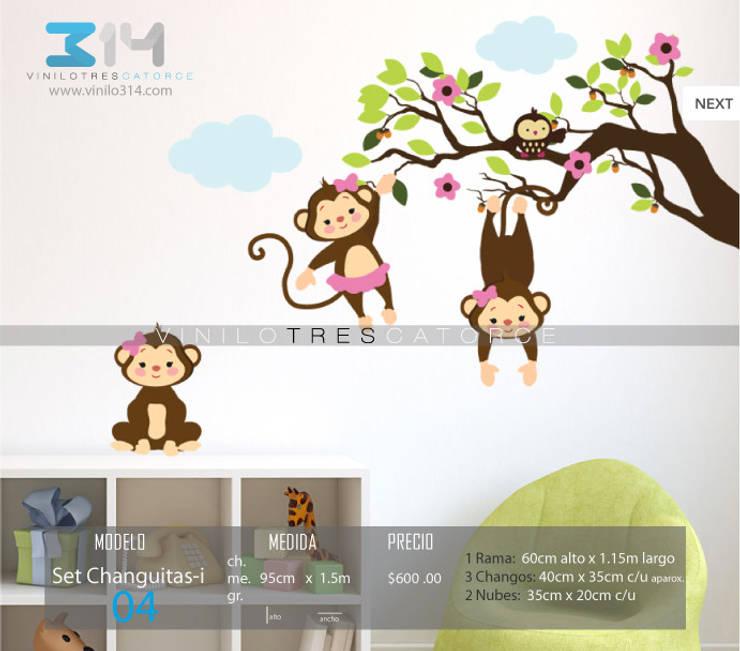 Vinilo Decorativo Set Changuitas : Recámaras infantiles de estilo  por Vinilo314