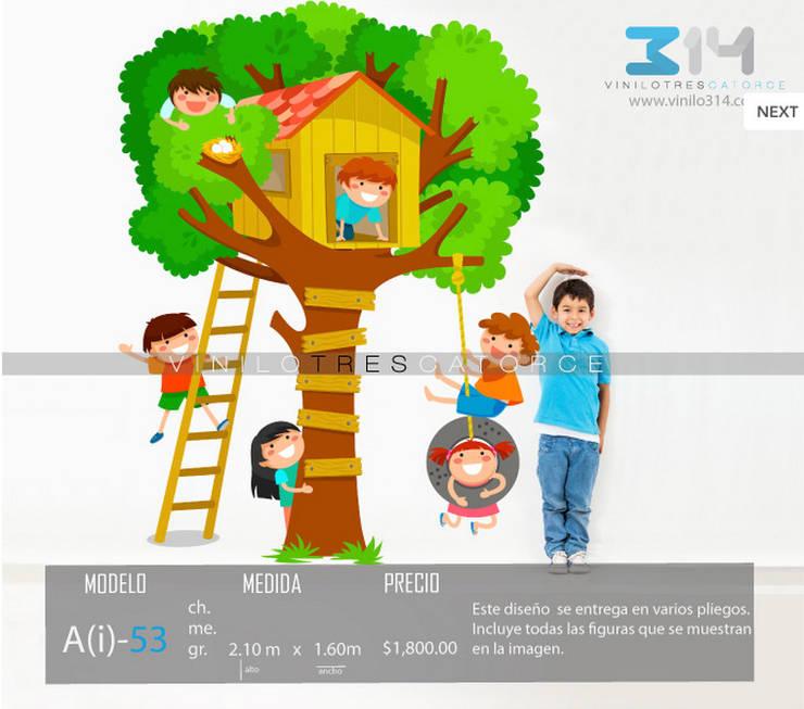 Vinilo Decorativo Casa del Árbol: Recámaras infantiles de estilo  por Vinilo314