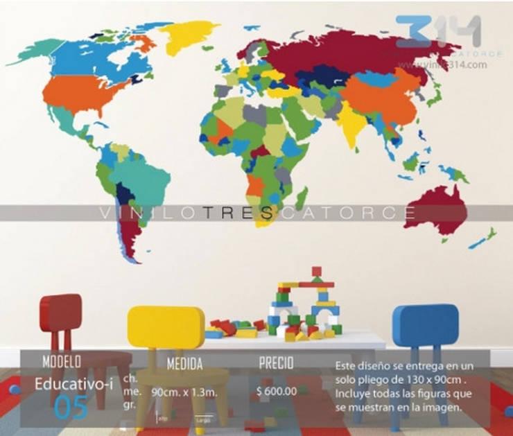 Vinilo Decorativo Mapa Mundi: Recámaras infantiles de estilo  por Vinilo314