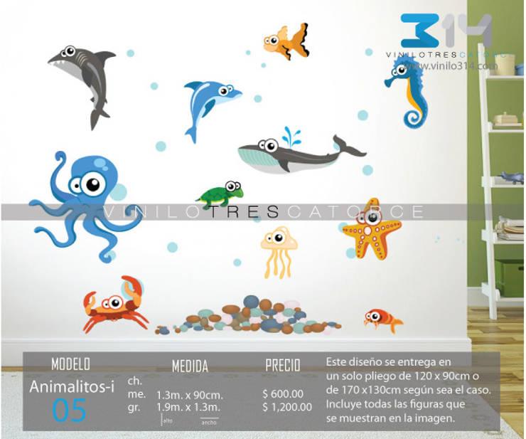 Vinilo Decorativo Acuario (peces): Recámaras infantiles de estilo  por Vinilo314