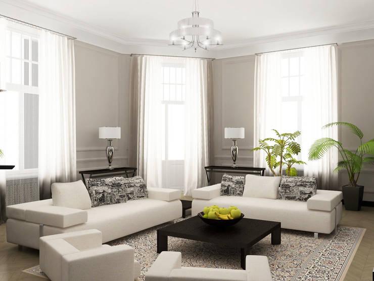 Дизайн-проект квартиры в Доме Бенуа: Гостиная в . Автор – Мария Бекетова  Света Лапина,