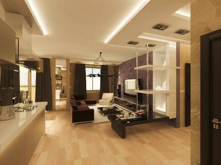 Квартира в ЖК <q>Новая Скандинавия</q>: Гостиная в . Автор – DEMARKA
