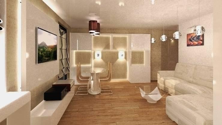 Дизайн-проект квартиры в современном стиле: Гостиная в . Автор – DEMARKA