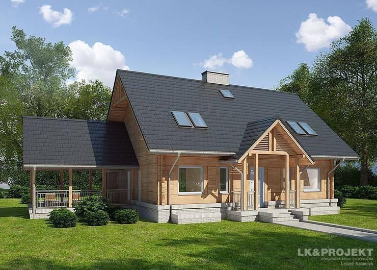 LK&909 perspspektywa frontowa: styl , w kategorii Dom z drewna zaprojektowany przez LK & Projekt Sp. z o.o.