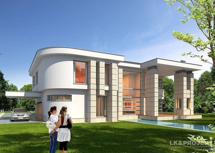 LK&907 perspektywa ogrodowa: styl , w kategorii Domy zaprojektowany przez LK & Projekt Sp. z o.o.,Nowoczesny