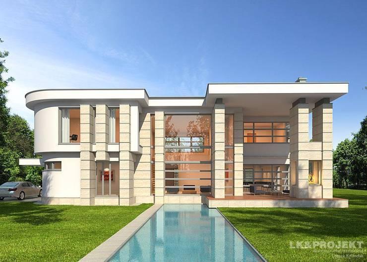 LK&907 perspektywa ogrodowa : styl , w kategorii Domy zaprojektowany przez LK & Projekt Sp. z o.o.,Nowoczesny