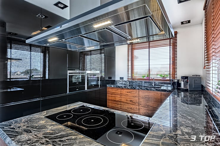 Meble na wymiar do kuchni w czarnej kolorystyce: styl , w kategorii Kuchnia zaprojektowany przez 3TOP,