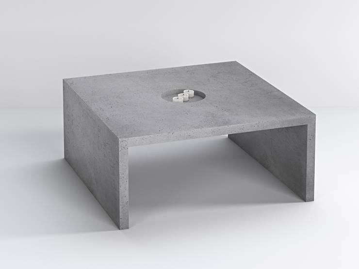 Stolik z betonu architektonicznego Quadra: styl , w kategorii Salon zaprojektowany przez Bettoni