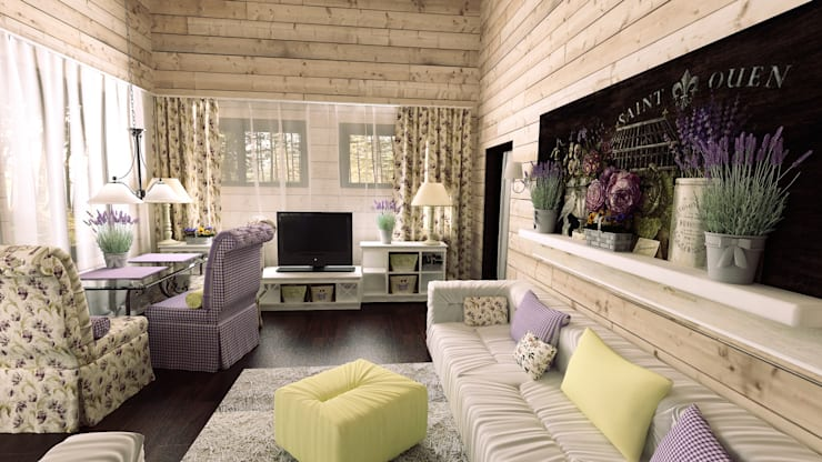 Гостевой домик в стиле Прованс: Гостиная в . Автор – Artscale