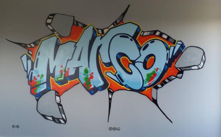 Graffiti slaapkamer Marco:  Slaapkamer door Mooie graffiti