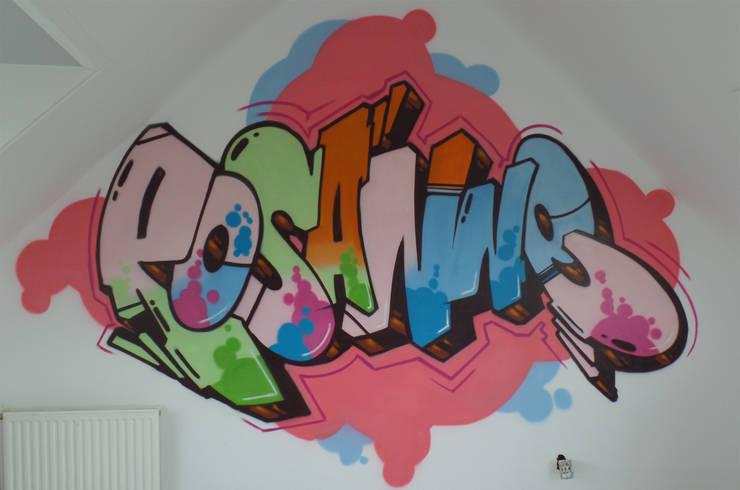 Graffiti slaapkamer Rosanne:  Slaapkamer door Mooie graffiti