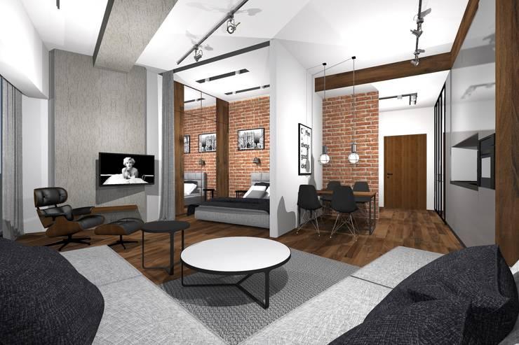 Apartament w Sky Tower we Wrocławiu: styl , w kategorii Sypialnia zaprojektowany przez MANUFABRYKA