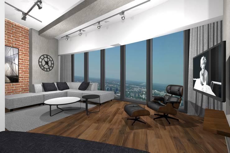 Apartament w Sky Tower we Wrocławiu: styl , w kategorii Salon zaprojektowany przez MANUFABRYKA