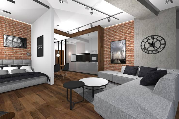 Apartament w Sky Tower we Wrocławiu: styl , w kategorii Kuchnia zaprojektowany przez MANUFABRYKA
