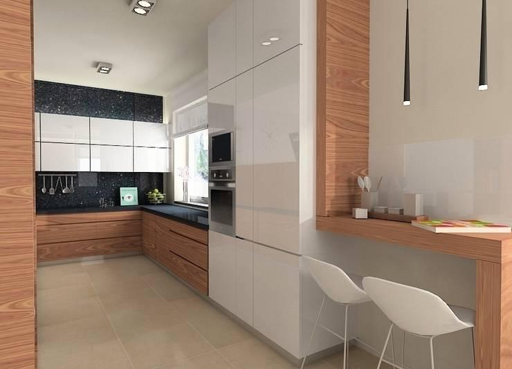 Projekt wnętrza domu w Łodzi: styl , w kategorii Kuchnia zaprojektowany przez Projektowanie wnętrz Berenika Szewczyk