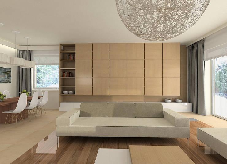 Projekt wnętrza domu w Łodzi: styl , w kategorii Salon zaprojektowany przez Projektowanie wnętrz Berenika Szewczyk,