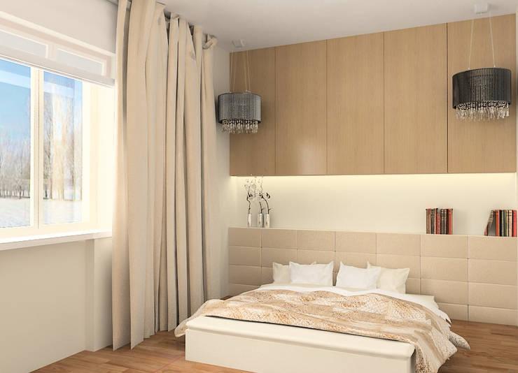 Projekt wnętrza domu w Łodzi: styl , w kategorii Sypialnia zaprojektowany przez Projektowanie wnętrz Berenika Szewczyk,