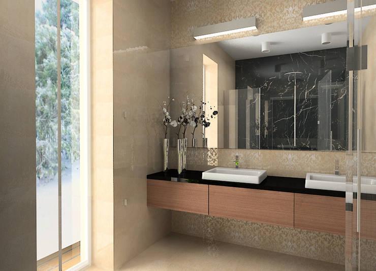 Projekt wnętrza domu w Łodzi: styl , w kategorii Łazienka zaprojektowany przez Projektowanie wnętrz Berenika Szewczyk,