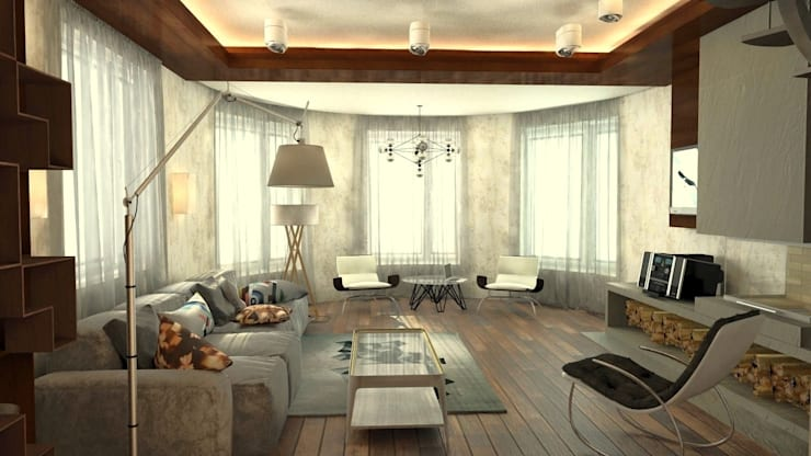 Дизайн-проект интерьера загородного дома в Кондакопшино: Гостиная в . Автор – DEMARKA