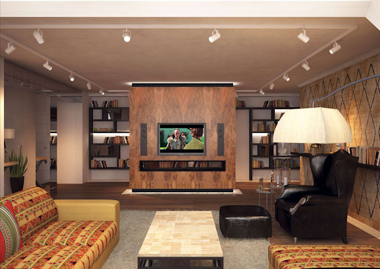Дизайн-проект 5-комнатной квартиры в Петергофе: Гостиная в . Автор – DEMARKA
