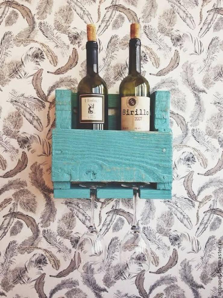 Полка на 2 бутылки вина с холдером на 2 бокала: Кухня в . Автор – 11 Reasons,