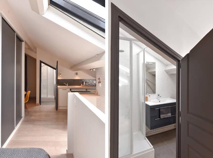 Rénovation d'un studio à Lyon 06: Salle de bains de style  par Marion Lanoë Architecte d'Intérieur