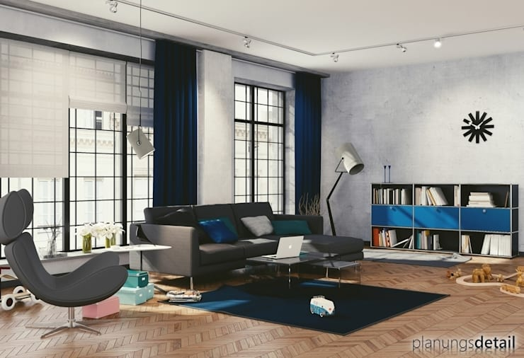 Loftwohnung:  Wohnzimmer von planungsdetail.de GmbH