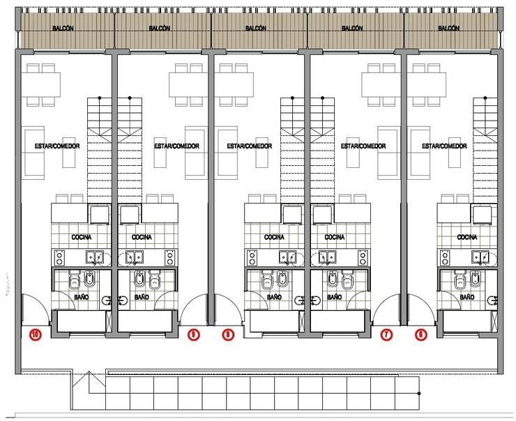 PLANO: Casas de estilo moderno por Desarrollos Proyecta