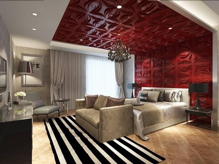 Diva Yapı – 3D GOLD PANEL: akdeniz tarzı tarz Yatak Odası