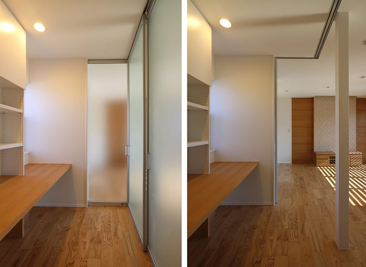 リビングとの間で間仕切り可能なスタディコーナー: シーズ・アーキスタディオ建築設計室が手掛けた和室です。