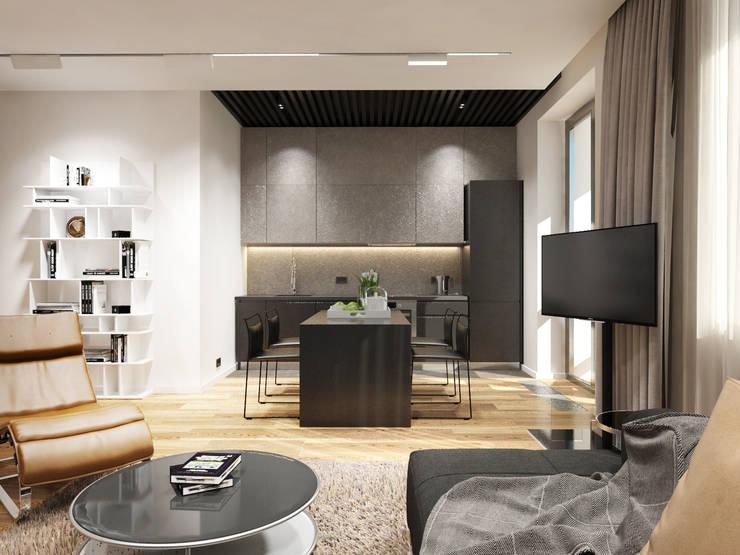 Студия для холостяка: Гостиная в . Автор – Y.F.architects,