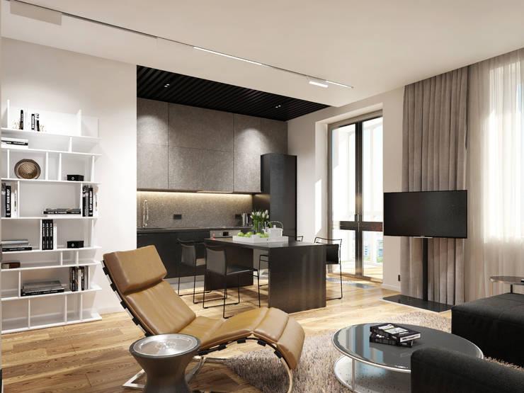 Студия для холостяка: Гостиная в . Автор – insdesign II