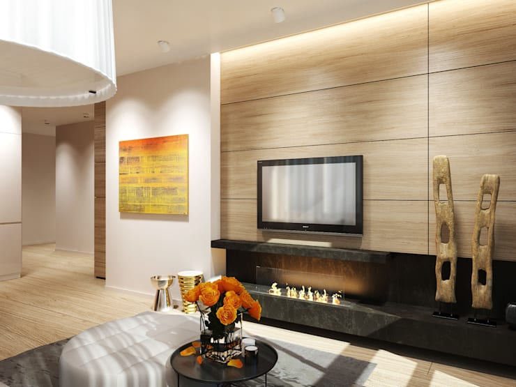 Квартира в ЖК <q>Чемпион парк</q>: Гостиная в . Автор – Y.F.architects