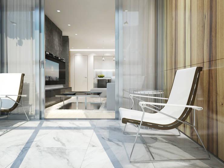 Balcones y terrazas de estilo minimalista de Y.F.architects Minimalista