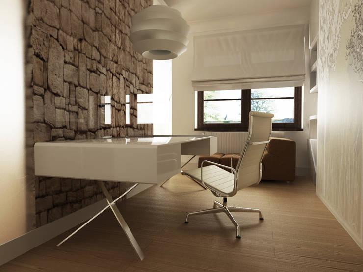 Gabinet.: styl , w kategorii Domowe biuro i gabinet zaprojektowany przez CAROLINE'S DESIGN