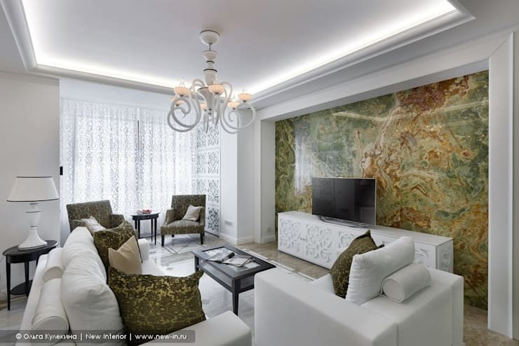 «Белоснежная Москва» – квартира на Красной Пресне – 131,3 м²: Гостиная в . Автор – Ольга Кулекина - New Interior